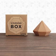 Diamond Box by Areaware. Shaped like an over-sized round cut diamond, this… Gift Box Packaging, Jewelry Packaging, Packaging Design, Packaging Ideas, Jewellery Exhibition, Exhibition Display, Proposal Ring Box, Chocolate Packaging, Diamond Shapes