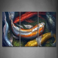 First Wall Art - Colorful Koi Swimming In Water Wall Art Painting The Picture Print On Canvas Animal Pictures For Home Decor Decoration Gift * Find out more about the great product at the image link. (This is an affiliate link) #DIYHomeDecor