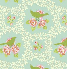 Fabric... Up Parasol birds in Turquoise by Heather Bailey for FreeSpirit Fabrics