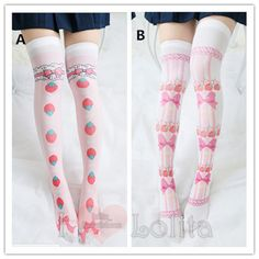 Free shipping 2 colors kawaii cute cartoon pattern over knees socks lk17040704