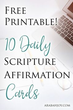 Free Printable! Improve your self-talk with these 10 Daily Scripture Affirmation Cards #Scripture #freebie #prayercards
