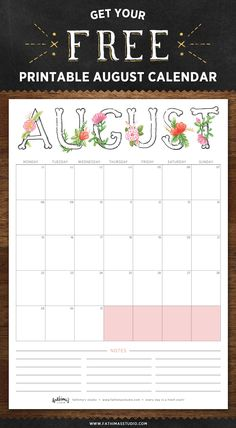 August 2016 Free Printable Calendar Planner - Fathima's Studio