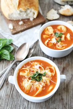 Creamy Tomato Tortellini Soup Recipe on http://twopeasandtheirpod.com Love this easy and delicious soup!
