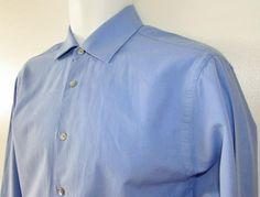 Men Calvin Klein Dress Shirt Regular Fit Blue 100% Cotton sz 15 1/2 - 34 35 EUC #CalvinKlein