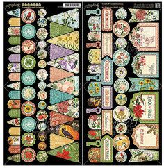 Graphic45 Die-Cuts TIME TO FLOURISH BANNERS scrapbooking BOTANICALS