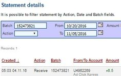 AD CLICK EXPRESS - ACX is the best ONLINE OPPORTUNITY for you.I WORK FROM HOME less than 10 min.Here is my WITHDRAWAL PROOF from AdClickXpress. I GET PAID DAILY and I can WITHDRAW DAILY and here is PROOF of my latest withdrawal. ONLINE INCOME is possible with ACX, who is definitely paying!THIS IS NOT A SCAM and I love MAKING MONEY ONLINE with AD CLICK XPRESS. Join for FREE and get 20$+10$ + 5$ Monsoon, Ad and Media value packs from ACX.My #38 Withdrawal Proof from AdClickXpress 04.11.2016.