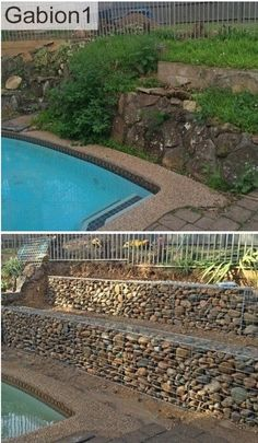 terraced gabion retaining wall, using rounded river stones as gabion fill http://www.gabion1.com