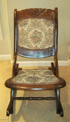 Early 1900 S Antique Folding Wood Rocking Chair Nice