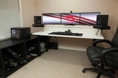 Home Office Furniture: Choosing The Right Computer Desk Office Setup, Pc Setup, Desk Setup, Office Workspace, Best Gaming Setup, Gaming Room Setup, Simple Computer Desk, Computer Setup, Trading Desk