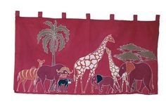 This cotton African wall hanging features various African animals on a red background. Living Room Accessories, African Animals, Red Background, Home Living Room, Cushion Covers, Cushions, Hand Painted, Medium, Wall