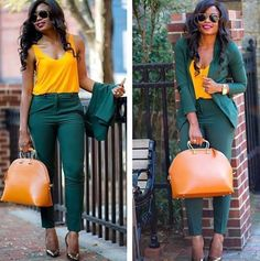Mustard/Yellow and emerald green / dark green suit Green Outfits For Women, Office Outfits Women, Classy Work Outfits, Chic Outfits, Fashion Outfits, Business Casual Attire, Professional Outfits, Look Kim Kardashian, Mode Costume