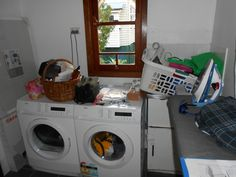 Old laundry with no working space Bathroom Renovations Brisbane, Norman, Washing Machine, Laundry, Home Appliances, Space, Laundry Room, House Appliances, Floor Space