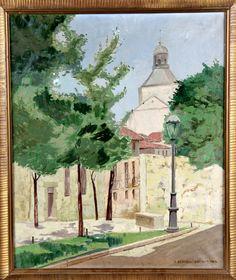 """Pacita BERMEJO ZUAZUA  (Oviedo,1909 - Madrid 1994)  """"El Escorial"""" 1963  Óleo sobre lienzo . Firmado en el ángulo inferior derecho.   Medidas: 53 x 63,5 cm."""