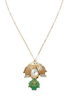 Angel Watch Necklace set in 20K Rose Gold & 18K Yellow Gold by SHARON KHAZZAM feat. a unique melange of Diamond, Emerald & paraiba Tourmaline for Preorder on Moda Operandi ♥≻★≺♥
