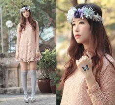 Yammi Embellished Floral Tiara, Marbella Glitzy Body Jewel, Pink Lace Top, Pale Pink Tutu, Miu Miu Embellished Sandals
