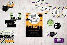 Free Printable Halloween Party Suite - customize text and colors