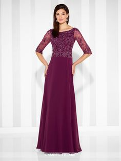 Cameron Blake - 117603 - Chiffon A-line gown with hand-beaded illusion three-quarter length sleeves, Sabrina neckline, hand-beaded bodice.Sizes: 4 – 20, 16W – 26WColors: Merlot, Navy Blue, Gray