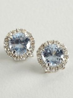 Tia Collections: aquamarine and diamond 'Halo' stud earrings
