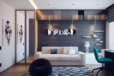 This first room, a totally cool room for a teen boy, comes from the designers at HQteam.