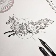 "eiruvsq: "" Artist & Illustrator: Sketchy Stories (aka) Kerby Rosanes ""Fox"" "" ""Kicking off a new series. #GeometricBeasts 