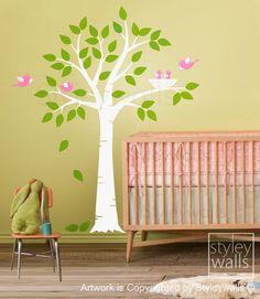 Tree with Bird Nest and Birds Nursery Vinyl Wall by styleywalls