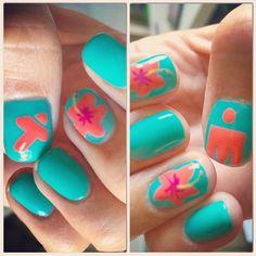 Nail art for Hawaii! #hibiscus #hawaii #ironmankona #ironman #nailart