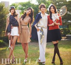 Preppy goodness. Yoonah, Yuri, Sooyoung, and Seohyun of Girls' Generation for High Cut magazine.