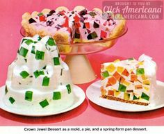 """Crown Jewel Dessert (Broken Window Glass Cake) A spectacular dessert that fits busy schedules - the gelatin for cubes may be made one day, remainder of dessert can wait until next day. From """"The Joys of Jell-O Gelatin Dessert,"""" early Jello Recipes, Cake Recipes, Dessert Recipes, Juice Recipes, Lime Cake Recipe, Jewel Cake, Bon Ap, Krispy Kreme, Glass Cakes"""