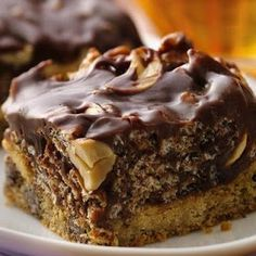 Caramel Cashew Bars - Refrigerated chocolate chip cookie dough makes a base for a scrumptious nutty-caramel topping..