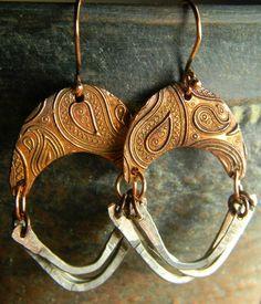 Paisley Copper Earrings Hoop Mixed Metal OOAK