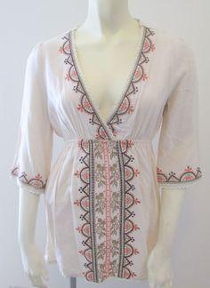 Ellison New Boho Peasant Empire Waist 3/4 Sleeve Casual Tunic Top Size S…