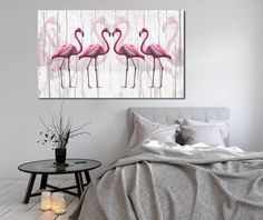 obraz xxl FLAMING 2 - 120x70cm na płótnie flamingi - AleObrazy - Ozdoby na ścianę