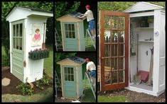 Four-Door Shed. Great way to protect your garden tools and recycle some old door. Four-Door Shed. Backyard Trampoline, Backyard Sheds, Backyard Landscaping, Garden Tool Shed, Garden Tool Storage, Garden Sheds, Garden Fencing, Garden Planters, Outdoor Projects