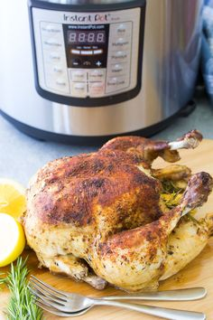 How to cook a whole chicken in an Instant Pot. One of the best simple Instant Pot recipes to learn! This rotisserie-style Instant Pot whole roast chicken recipe is easy to make, even if you are a beginner with using your pressure cooker. Cook from fresh or frozen. It's perfect for Sunday dinner or to make ahead for quick healthy meals throughout the week! Baked Whole Chicken Recipes, Whole Roast Chicken Recipe, Instant Pot Whole Chicken Recipe, Cooking Whole Chicken, Roast Chicken Recipes, Best Instant Pot Recipe, Instant Pot Dinner Recipes, Chicken Receipe, Chicken Gravy