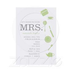 Monogram Green Bridal Shower Invitations from Zazzle.com