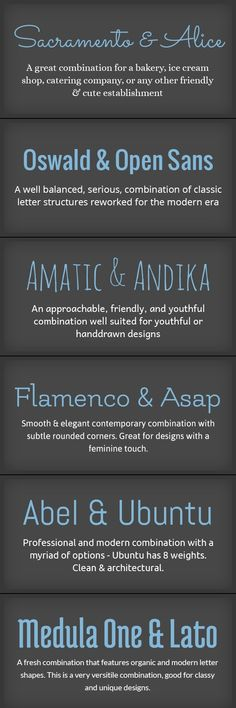 Pairings of Fonts