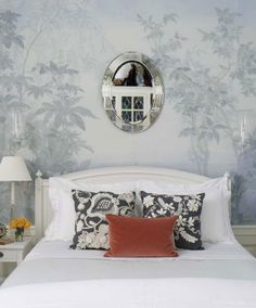 Grisaille wallpaper = bliss is the bedroom, especially!  Shaun Jackson interior design