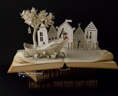 Going to a Town Book Sculpture Book Art by MalenaValcarcel