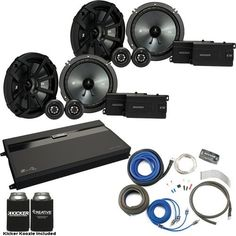 """Kicker - Two Pairs Of 43CSS654 6.5"""""""" Component Speakers, a MB Quart ZA2-1600.4 4-Channel Amp & Wire Kit"""
