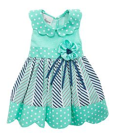 This Mint Polka Dot Dress - Infant, Toddler & Girls by Rare Editions is perfect! #zulilyfinds