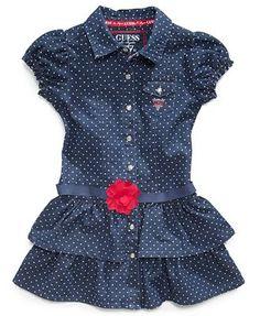 GUESS Kids Dress, Little Girls Polka Dot Denim Dress