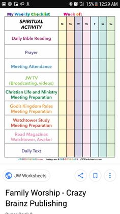 Spiritual activity/ FamWo, etc. Pioneer School Gifts, Pioneer Gifts, Jw Pioneer, Family Worship Night, Family Bible Study, Study Schedule, Weekly Schedule, Jw Gifts, Jw Ministry
