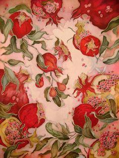 Waiting for pomegranate season Motifs Textiles, Textile Patterns, Print Patterns, Fabric Painting, Fabric Art, Botanical Illustration, Illustration Art, Pomegranate Art, Jugendstil Design