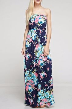 Floral print tube top maxi with hidden pocket.   The Erika Maxi by Bellamie. Clothing - Dresses - Maxi Clothing - Dresses - Strapless Minneapolis, Minnesota