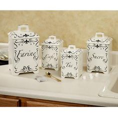 Etonnant Ambre Canister Set   French Script