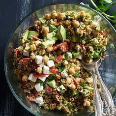 Don't stress about dinner tonight -- you can make this main-dish salad up to 4 hours ahead of time. With chickpeas, freekah, and avocado, this salad is sure to hold off hunger for hours. /