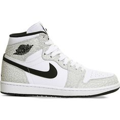 Nike Air Jordan 1 OG canvas high-top trainers ($135) ❤ liked on Polyvore featuring men's fashion, men's shoes, men's sneakers, mens leopard print shoes, mens high top shoes, nike mens shoes, mens black and white shoes and nike mens sneakers