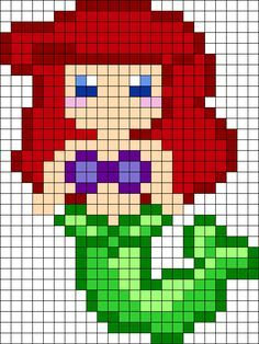 Ariel Perler Bead Pattern / Bead Sprite by clara Perler Bead Designs, Diy Perler Beads, Perler Bead Art, Fuse Bead Patterns, Perler Patterns, Beading Patterns, Pixel Art Templates, Perler Bead Templates, Print Templates