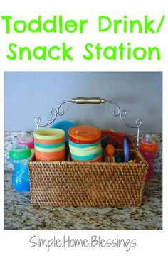 Toddler Drink and Snack Station - simple idea for corralling all the kid related kitchen mess