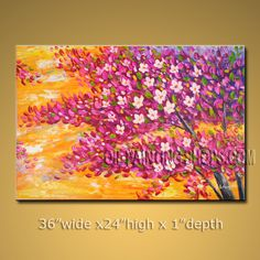 Enchant Original Impressionist Palette Knife Hand-Painted Art Paintings For Living Room Tree. In Stock $165 from OilPaintingShops.com @Bo Yi Gallery/ ops2927